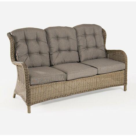 Sofá para jardín | 3 plazas | Color natural | Aluminio y rattán sintético | Tamaño:173x90x107 cm |Cojín marrón incluido | Portes gratis - Natural-redondo