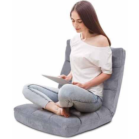 Sofá Perezoso Sofá Plegable Respaldo Ajustable 14 Posiciones Silla de Dormitorio Sala de Estar Gris