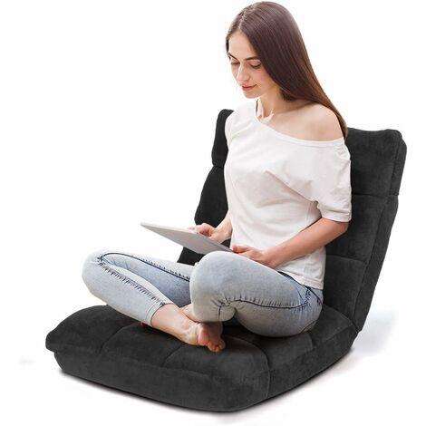 Sofá Perezoso Sofá Plegable Respaldo Ajustable 14 Posiciones Silla de Dormitorio Sala de Estar Negro