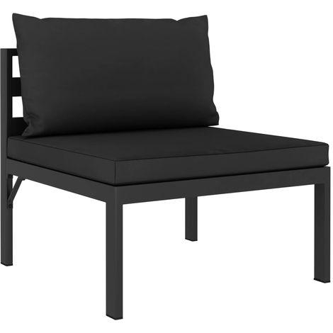 Sofa seccional central y cojines madera maciza acacia antracita