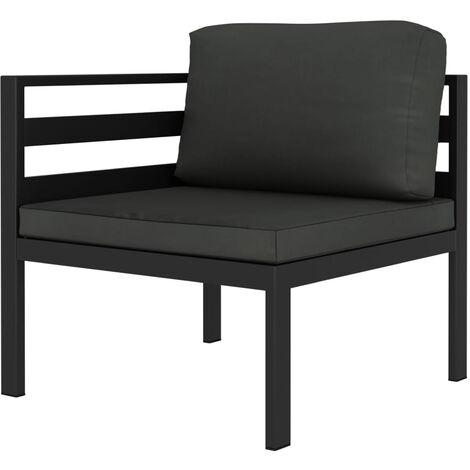 Sofa seccional de esquina con cojines aluminio gris antracita
