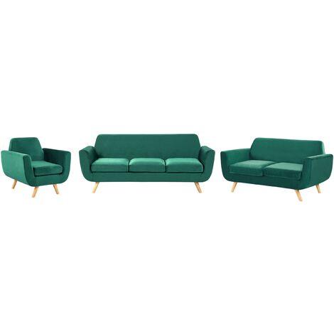 Sofa Set Green Retro Velvet Upholstery Seat Cushions Removable Covers Bernes