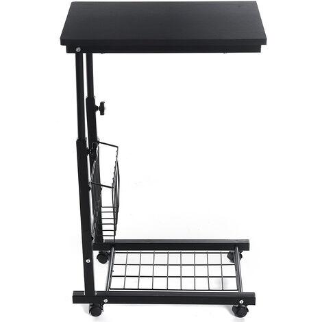 Sofa Side Table Height Adjustable Laptop Desk Black 48x30x76cm