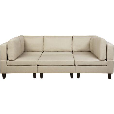 Sofá tapizado beige con reposapiés FEVIK