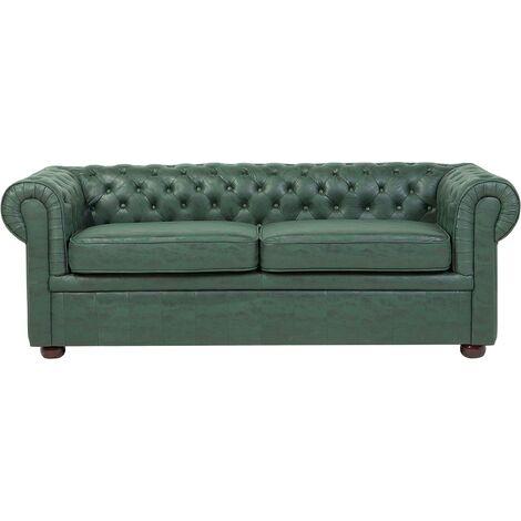 Sofá tapizado color verde CHESTERFIELD