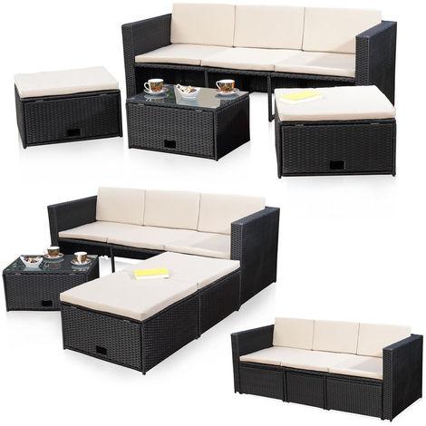 Sofá y 2 taburetes Conjunto de asientos de jardín Terraza muebles Salón Negro de ratán conjunto de muebles de ratán conjunto jardín sillones