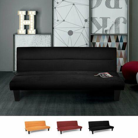 Sofabett Bettcouch Mikrofaser Samt-Effekt 2-Sitzer Design Ametista Rainbow | Farbe: Schwarz