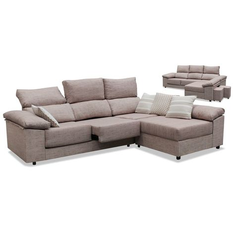 Sofas chaiselongue, color Beige 3 plazas, ref-04