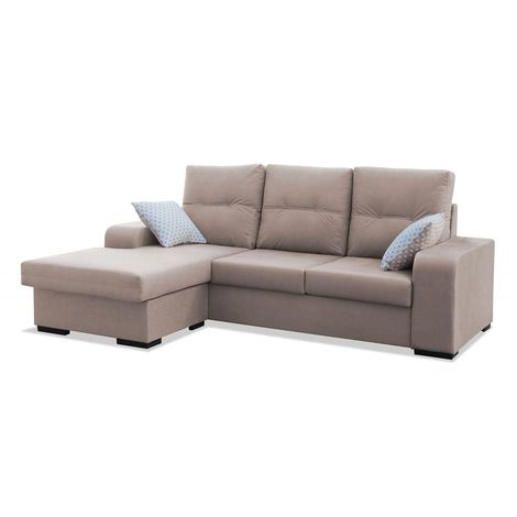 Sofas chaiselongue, color Beige 3 plazas, ref-70