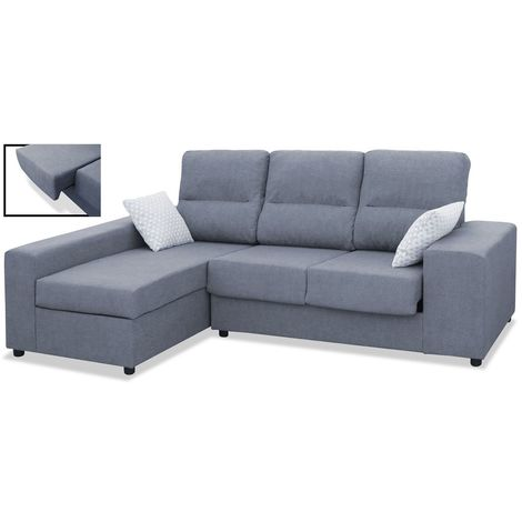 Sofas chaiselongue, color Gris 3 plazas, ref-01