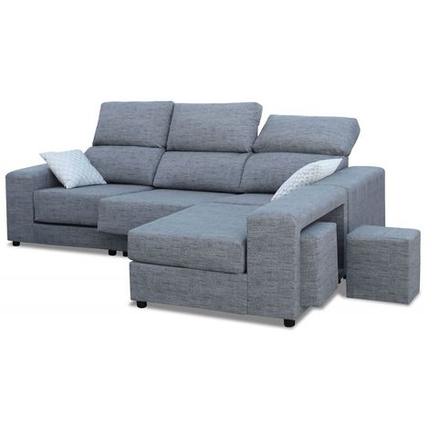Sofas chaiselongue, color Gris 3 plazas, ref-02