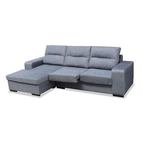 Sofas chaiselongue, color Gris 3 plazas, ref-103