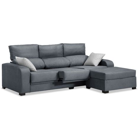 Sofas chaiselongue, color Gris 3 plazas, ref-55