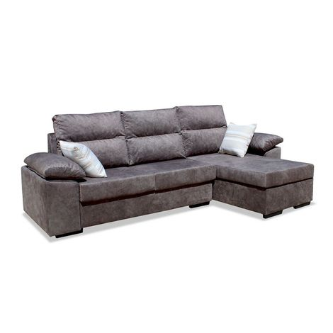 Sofas chaiselongue, color Marron 3 plazas, ref-107