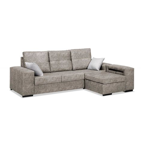 Sofas chaiselongue, color Marron 3 plazas, ref-89