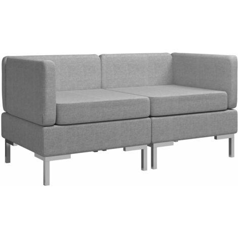 Sofás de esquina seccionales 2 uds con cojines tela gris claro