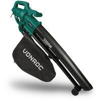 Soffiatore elettrico per foglie 3000W VONROC – 3 in 1, soffiatore, aspiraratore e trituratore. Max velocità aria 270 km/h. Include sacca di raccolta da 35 litri