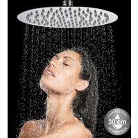 Soffione Doccia Bagno Rotondo 30cm Acciaio Inox Ultra Sottile Effetto Pioggia