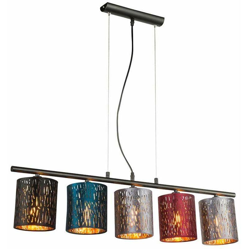 Image of Soffitto Pendolo Lampada a Sospensione Apparecchio Metallo Nero Velluto Multicolore Sala da pranzo