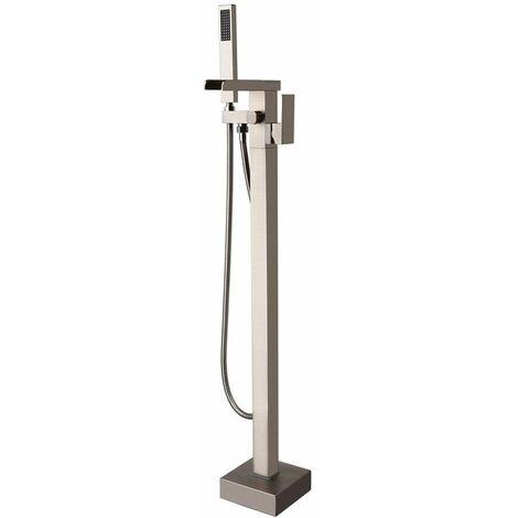 Sofisticato miscelatore monocomando per vasca freestanding in nichel spazzolato