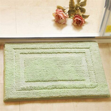 Soft Bath Mat for Bathroom Microfiber SPA Bathroom Mat 40x60cm Non-Skid Pure Cotton Area Rugs Cotton Plush Extra Plush Absorbent Bathmat for Bathtub Shower - Light Green