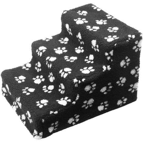Soft Cat Dog Steps Ramp Paw design Small Climb Pet Step Stairs Black White