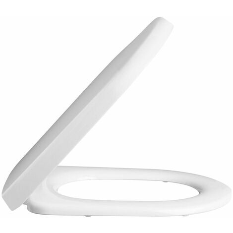 Soft Close Square Edge White Toilet Seat Bathroom Top Fix Stainless Steel Hinges