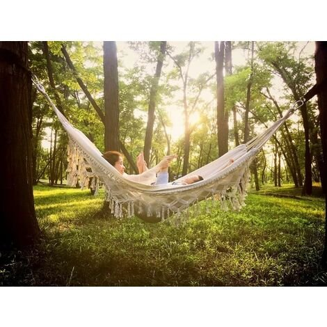 Soft Cotton Garden Hammock with Backpack, Great for Garden, Porch, Travel, Camping 200 * 150cm