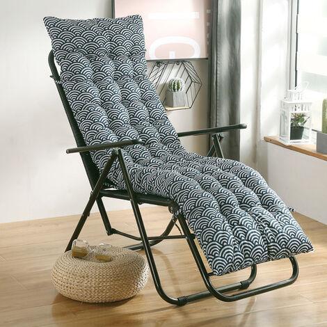 Soft Cotton Seat Pad Replacement Cushion Pad Garden Sun Lounger Recliner Chair 155x48x8cm fish ripple