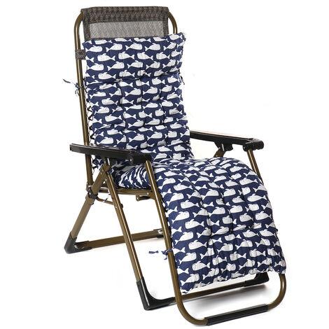 Soft Cotton Seat Pad Replacement Cushion Pad Garden Sun Lounger Recliner Chair 155x48x8cm whale