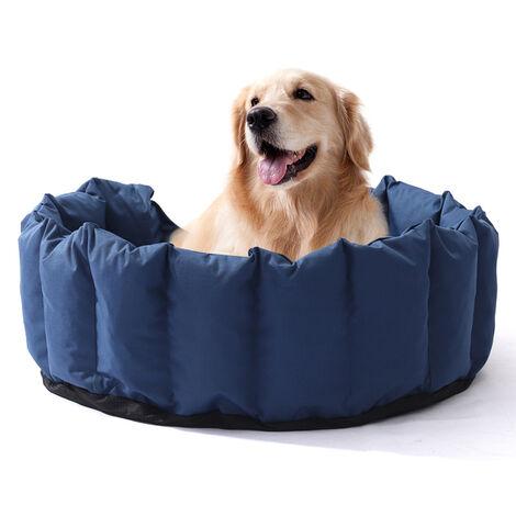 Soft Dog Bed Waterproof Pet Basket Mat Cushion Blue 76 x 64 x 24 cm