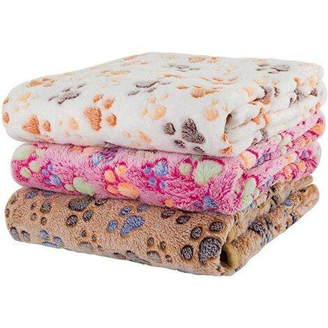 Soft Dog / Cat Blanket, 3pcs Soft Warm Animal Fleece Blanket Bed Mat Dog Cushion Blanket, Soft Waterproof Car Blanket for Pet Cushion Mat Pattern
