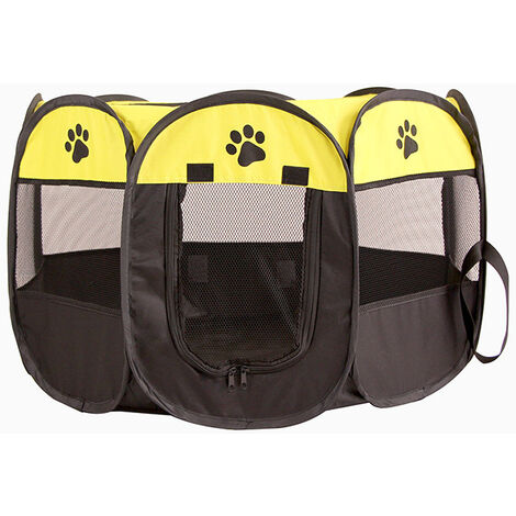 Soft Fabric Pet Dog Cat Puppy Playpen Exercise Cage Soft Foldable Rabbit Guinea Play Yellow