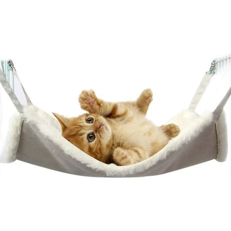 Soft Hammock Bed Cat Cage Mattress Blanket Hanging Bed Comfortable Sleeping Mat Cage Mattress IE145 (L (58x48cm), White)