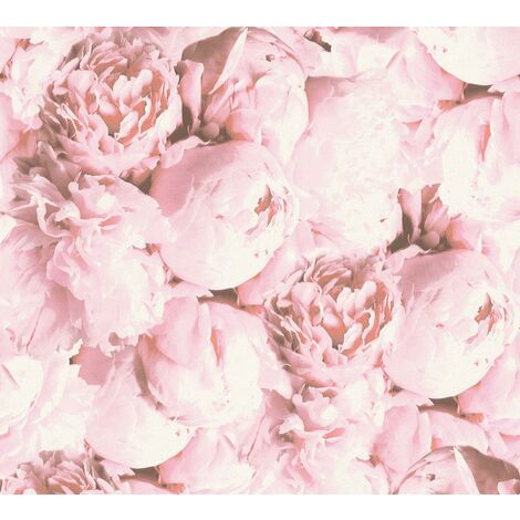 Soft Pink Floral Roses Floral Wallpaper Glitter Finish Vinyl Paste The Wall