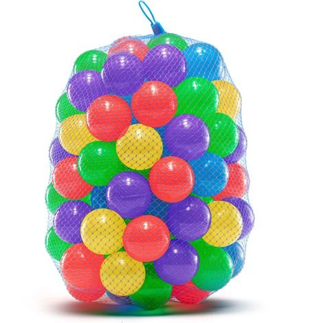 Soft Plastic Ball Pit Balls for Trampoline, Play Tent, Ball Pools, Indoor & Outdoor Play | Crush Proof, Non-Toxic, Phthalate & BPA Free | 100 Mixed Coloured Balls