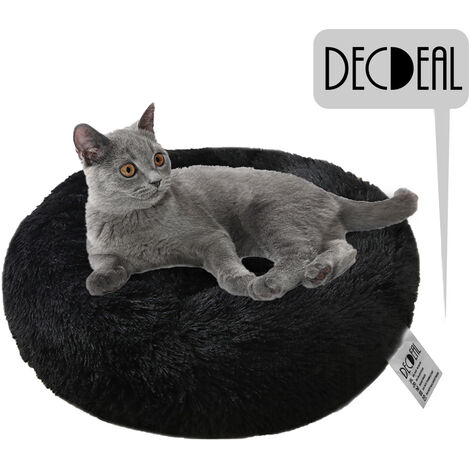 Soft Plush Round Pet Bed Cat Soft Bed Cat Bed, black- diameter 40cm