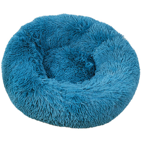 Soft Plush Round Pet Bed Cat Soft Bed Cat Bed, Cyan-diameter 50cm