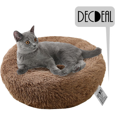Soft Plush Round Pet Bed Cat Soft Bed Cat Bed, light brown- diameter 60cm