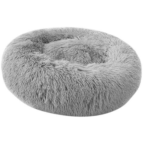 Soft Plush Round Pet Bed Cat Soft Bed Cat Bed light grey-diameter 60cm