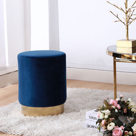 Soft Stool Vanity Chair Round Velvet Ottoman Footstool Dressing Table Stool Gold Metal Base Blue