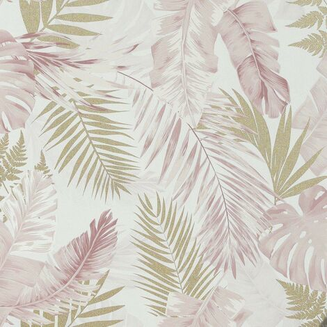 Soft Tropical Wallpaper Palm Leaves Blush Gold Foil Metallic Textured Vinyl