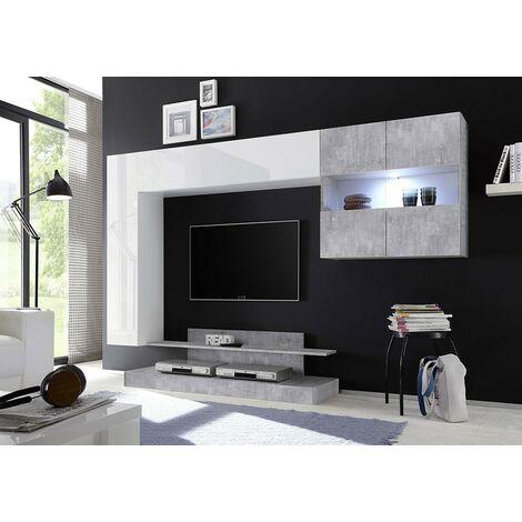 Soggiorno Mirò bianco lucido e cemento beton