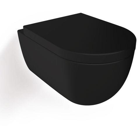 Soho Hänge Wand WC Spülrandlos Toilette Schwarz Matt mit WC-Sitz :Compact