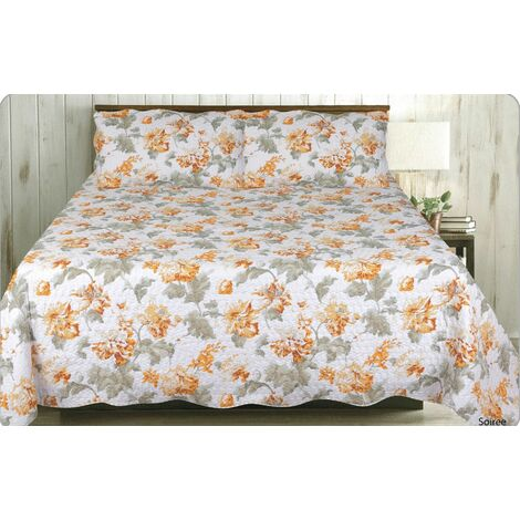 Soiree Quilted Floral King Bedspread Throw Throwover Bedding & 2 x Pillowsham Set