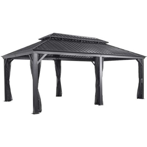 Sojag Aluminium Pavillon Gazebo Messina 12x20 inkl. Moskitonetz 363x598 cm