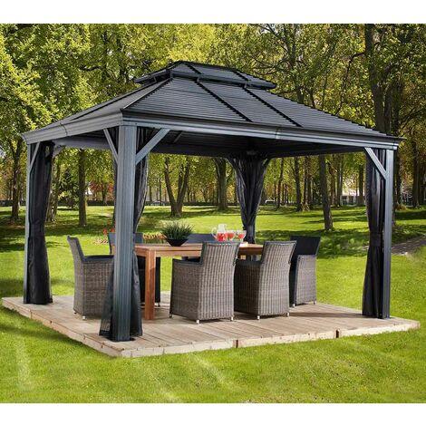 Sojag Aluminium Pavillon Gazebo Mykonos 10x12 inkl. Moskitonetz 299x364 cm