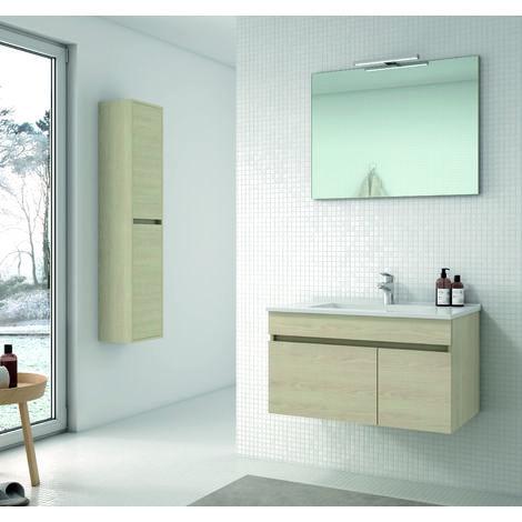 Soki Mueble de baño con lavabo ceramico 1 Cajón/1Puerta 80 cms. Taiga