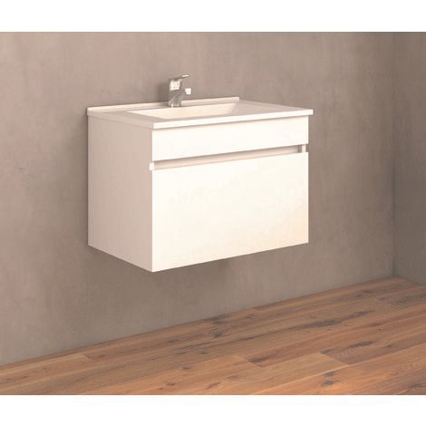 Soki Mueble de baño con lavabo ceramico 1 Cajón 60 cms.. Blanco brillo