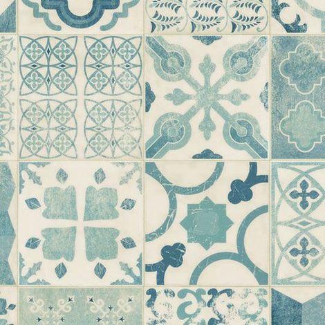 Sol Lino Carreaux De Ciment Bleu 2 X 4m 33035018